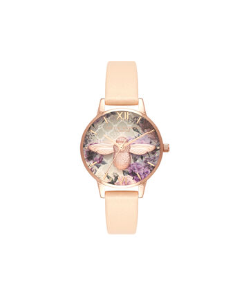 OLIVIA BURTON LONDON GlasshouseOB16EG98 – Midi Dial Round in Nude and Rose Gold - Front view