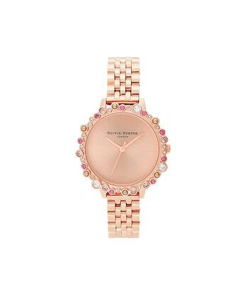 OLIVIA BURTON LONDON Reloj Bejewelled Case de edición limitada, pulsera de oro rosaOB16US32 – SHOPBAG_LABEL - Front view