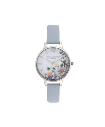 OLIVIA BURTON LONDON Enchanted Garden Demi Dial WatchOB16EG114 – Demi Dial in blue and Silver - Front view